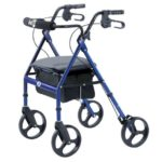 four wheeled walker with brakes and seat
