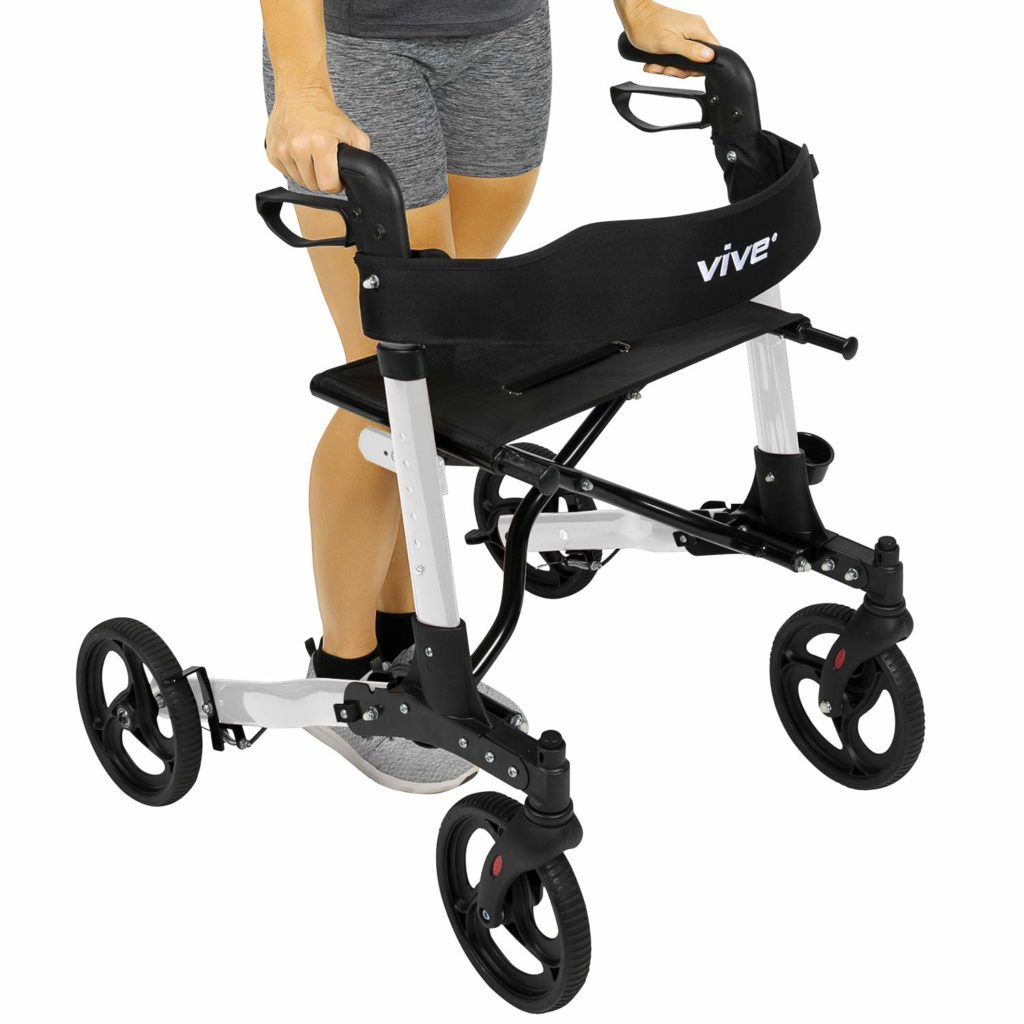 Vive 4 Wheel Medical Rolling Walker with Seat