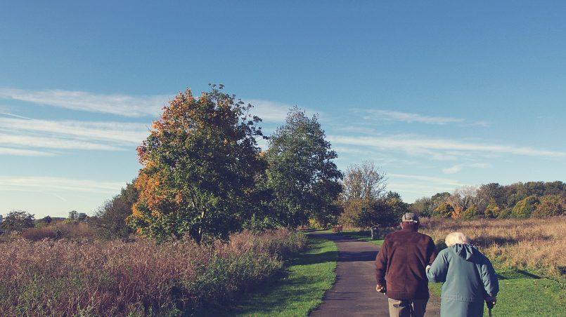 seniors walking in nature