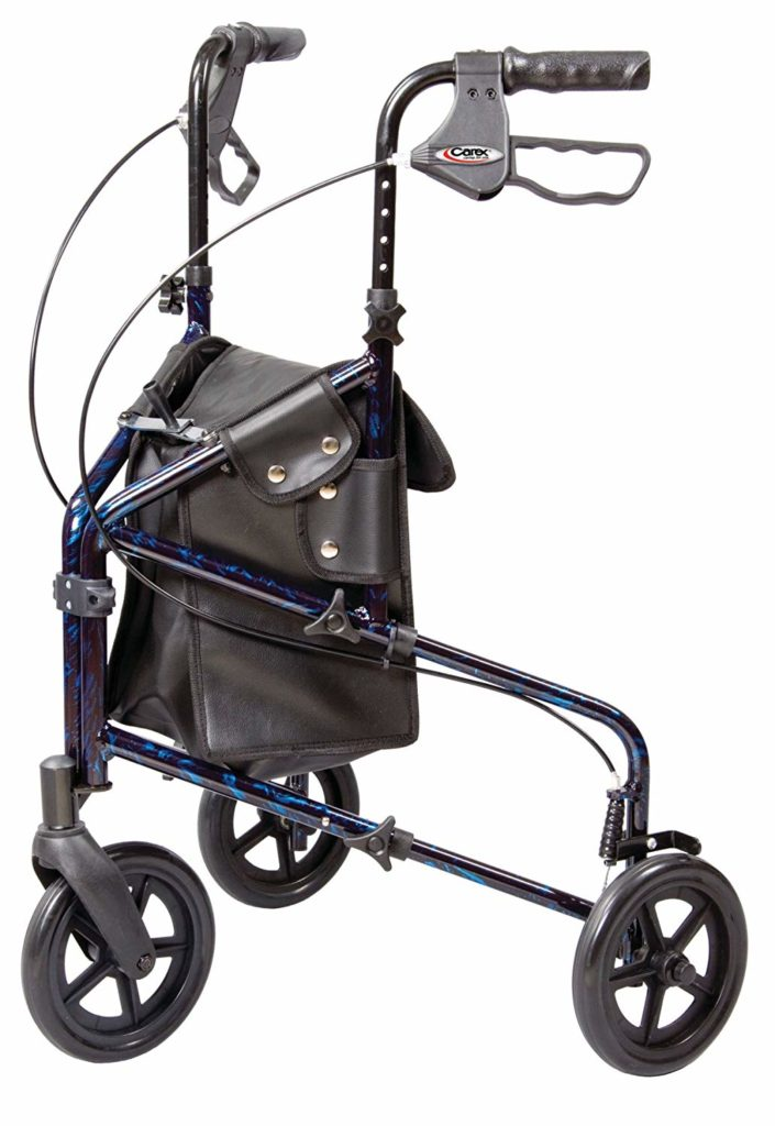 Carex 3 Wheel Walker for Seniors, Foldable, Rollator Walker