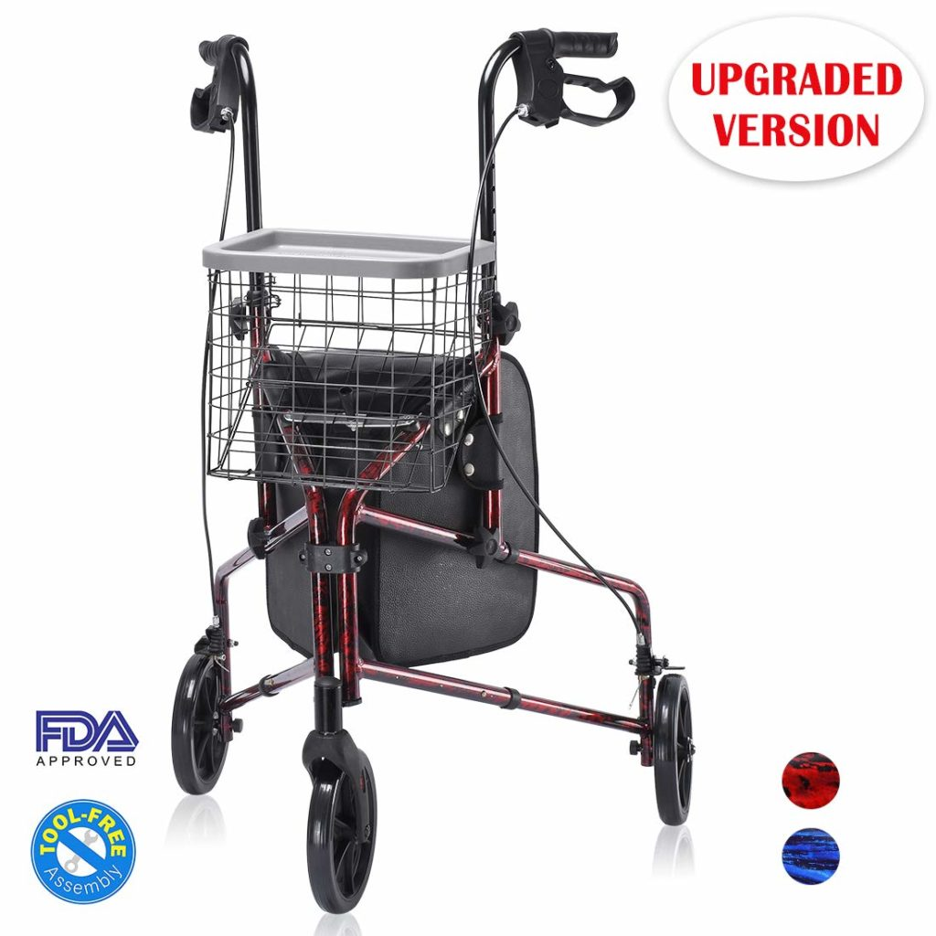 Health Line Lite Folding 3 Wheel Aluminum Rollator Walker